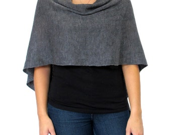 Dark Grey Wool Poncho in Lightweight Merino Wool