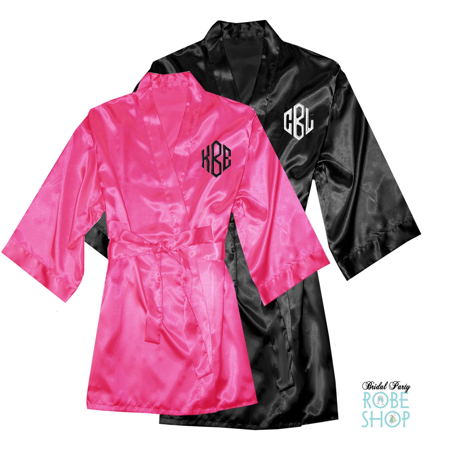 personalized his and hers satin robe set with monogrammed. Black Bedroom Furniture Sets. Home Design Ideas