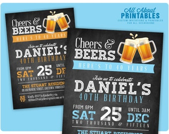 40th birthday invitation for Men. Cheers & Beers invitation. Surprise Birthday. Chalkboard. Big 40. DIY Printable Digital