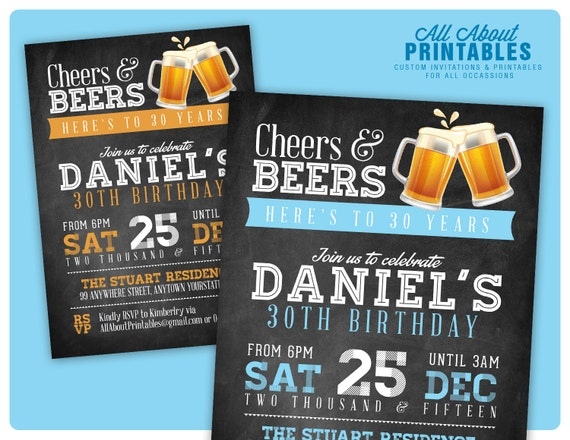 30. geburtstag einladung für männer. prost & bier-einladung., Einladungen