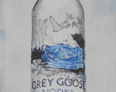 Water Color : Original Vodka Watercolor Painting. Unframed. Bar wall art. Grey Goose Bottle. Hard Liquor sign. Bar painting. Vodka artwork.