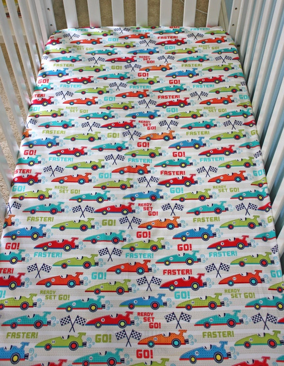 Car Crib Sheet : Crib fitted sheet cars baby sheets blue by