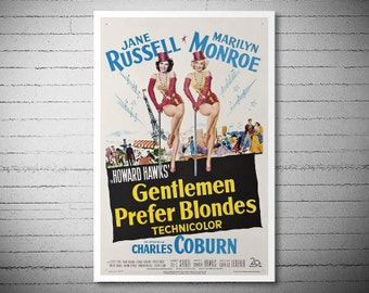 Gentlemen Prefer Blondes Movie Poster - Marilyn Monroe - Poster Paper, Sticker or Canvas Print
