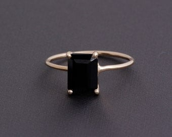 Emerald Cut Black Onyx Ring, 14k Yellow Gold Basket Wire Ring