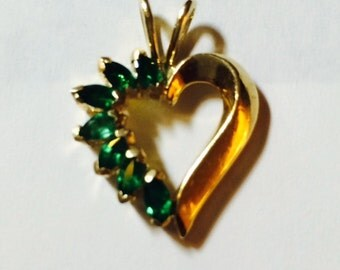 Women's 14k yellow gold emerald pendant; seven   2 x 3 mm marquise emeralds, 3.9 grams,May birthstone, gift for her, elegant