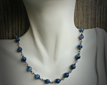 Necklace-Semi Precious Blue Stone-Sterling Silver-Wire Wrapped-Interchangeable