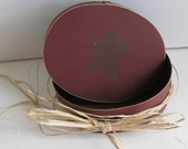 Rustic Primitive Barn Red Cheese Box Country Star Painted Round Wooden Cheese Box Oval Shaker Box Style