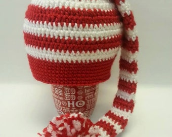 Crocheted red and white elf hat.