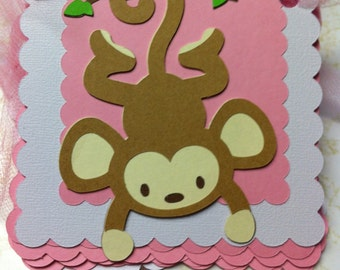 Monkey Happy Birthday Banner includes first name OR Full name banner