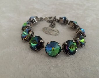 Crystal bracelet, 12mm swarovski crystal bracelet, hues of blue, green, and yellow. -affordable jewelry, great gift, support cancer