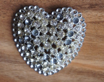 Vintage  Jewelry Cubic Zirconia BROOCH Pin Wide Heart Shape Collactable is-2 3/16 height is-2 1/4 E-006