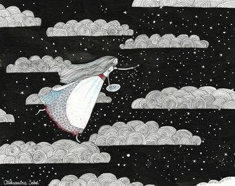 BEAUTIFUL in the clouds - original illustration 24x30cm