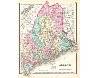 Maine State and County Map 1857 Vintage Colton Reproduction Den Office Wall Art Print 8x10 16x20 20x24