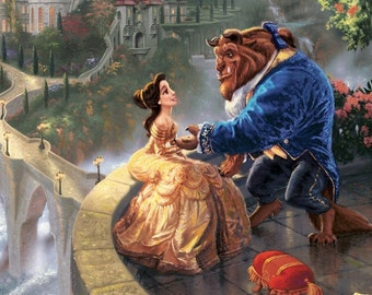 8x10 Beauty and the Beast Portrait from Thomas Kinkade Falling in Love Walt Disney Premium Giclee Print