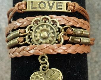 Love Flower Heart Brown Leather Adjustable Charm Bracelet