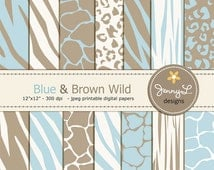 Blue and Brown Animal Print Digital papers, Baby Boy Safari, Zebra, Tiger, Giraffe, Leopard Print for Digital Scrapbooking, Wild Safari