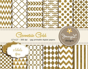 Gold Digital Papers, Geometric Gold Foil Digital papers, Gold Wedding papers, Gold Digital Scrapbooking Papers, Gold Chevron, Gold Arrows