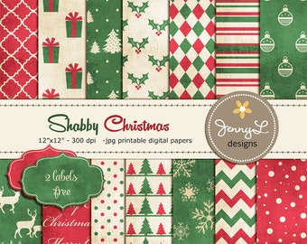 Christmas Digital Paper, Shabby Christmas, Vintage Christmas Papers, Textured Holiday Digital Scrapbooking Paper, Antique Digital Papers
