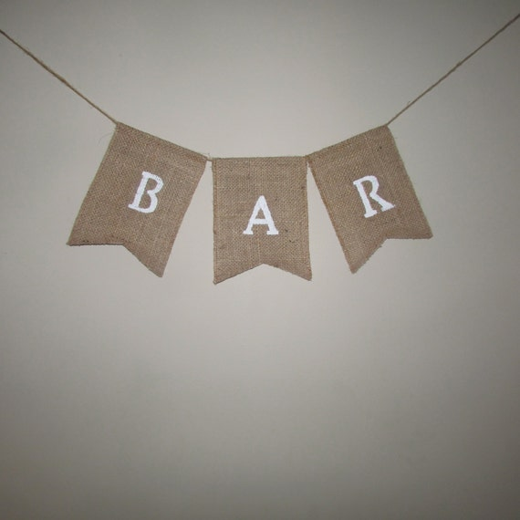"""Ready to ship! Burlap/lace """"Bar"""" banner, wedding signs"""