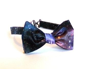 Space Bow Tie Self Tie Astronomy Bowtie Cosmos Galaxy Universe Stars Stardust Blue Purple Satin Boyfriend Gift Boys Mens Adjustable Necktie