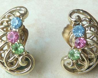 Vintage Pastel Rhinestone Detailed Clip On Earrings By Jewelcraft.