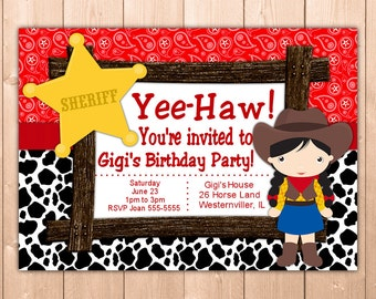 Cow Girl Invitation Printable, Personalized Cow Girl Birthday Invitation for Kids and Adults, Free Thank You Note