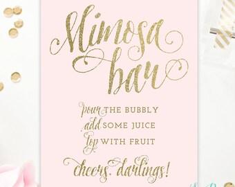 Mimosa Bar Sign Blush Pink & Gold and Silver Glitter -  8x10, 5x7 - Champagne Bar Sign - Bubbly Bar - Birthday Baby Bridal Shower, 5x7, 8x10
