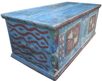 Antique Bulgarian Trunk, Chest, Blanket Box, hand painted in blue