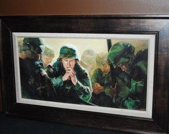 Military Solider Prayer Print - Sweet Hour of Prayer by Emily Dyches - Framed Open Edition Giclee - Army Pray God Battle Soldiers Painting