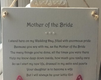 Mother of the Bride Personalised Wedding Thank You Plaque from the Bride