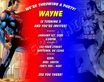 Superman / Batman Birthday Invitation - Printable