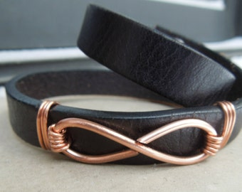 """Leather & Copper Embellished Women's Wrap Bracelet in Black """"The Infinity Knot"""""""