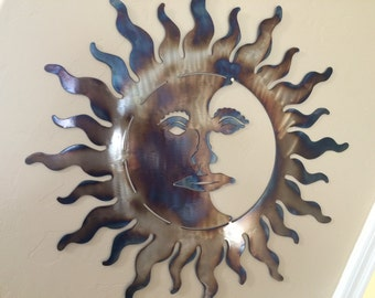 Sun Moon Metal Sculpture Metal Wall Art Decor