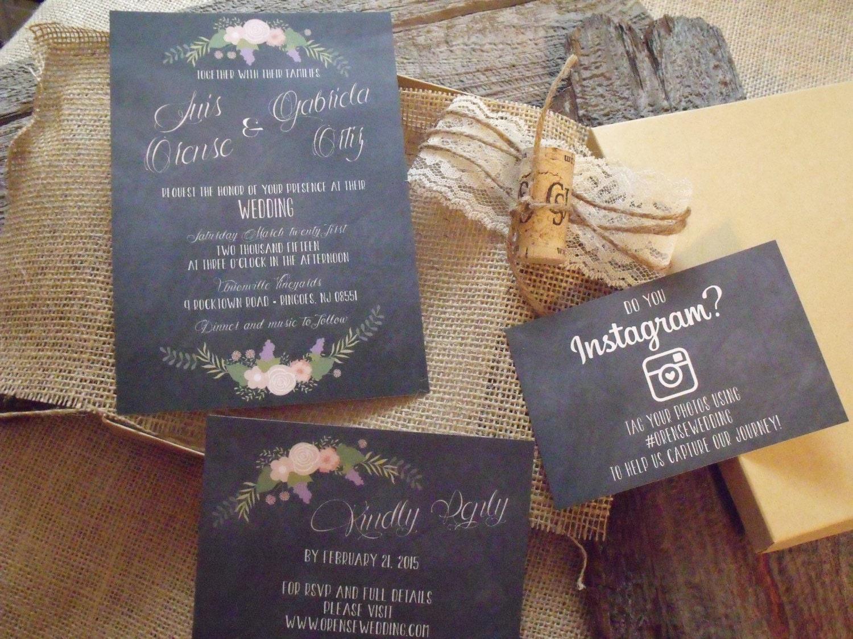 Box Of Wedding Invitations: Box Wedding Invitation SetChalkboard Wedding