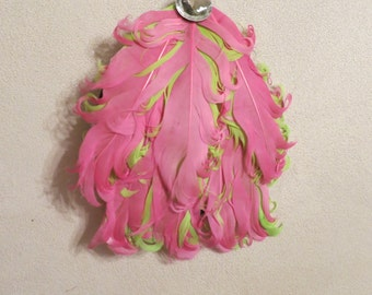 Feather Hair Clip Lime Green and Pink with Rhinestone - Baby/Teen/Adult
