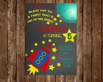 Rocket Birthday Party Invitation