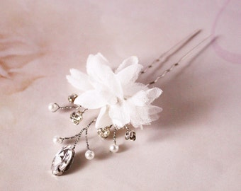 Bridal silk flower hair pin, headpiece - Flower hair pin, Ready to Ship