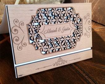 Amazing Laser cut wood wedding invitation / Rustic cherry wood wedding invitation