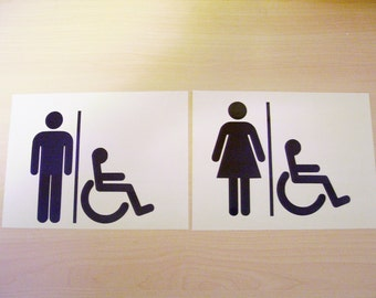 Restroom decal, Bathroom decal, restroom handicap decal