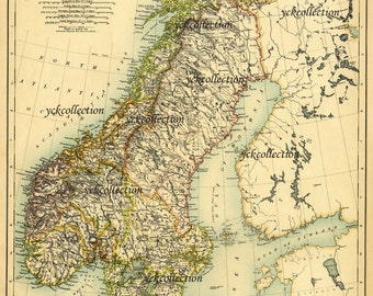 "Antique Sweden and Norway Map (1887)  Ultra High Resolution 8"" x 10"" to 36"" x 46"" 300 dpi instant digital download"