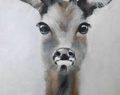 Medium acrylic painting, deer, forest, hunter, black,white ,black and white painting by Beate Frieling