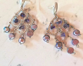 Brazil Earrings Pierced Hammered Silver with Violet Pearls