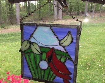 Cardinal with Birdhouse, Stained Glass Birdhouse, Sun Catcher