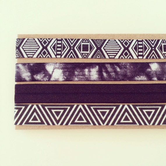 Black Boho Headband Set | Black + White Aztec Tribal Tie Dye Elastic Headbands for Baby, Toddler, Kids + Adults, Black Boho Headbands