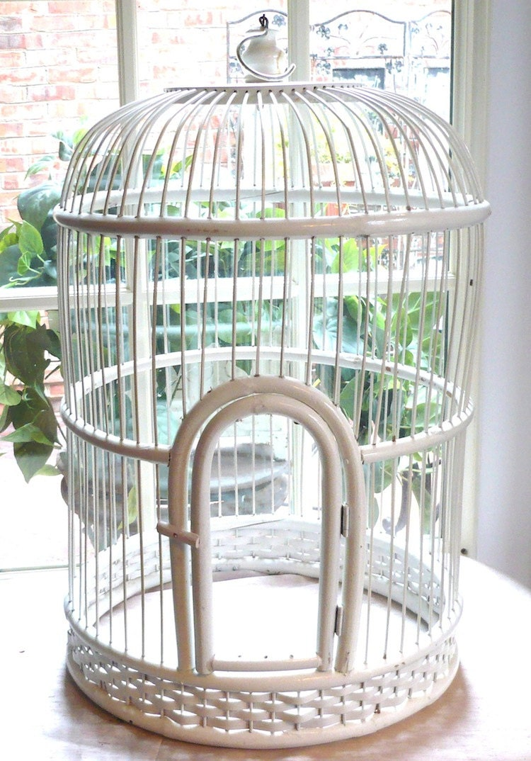vintage large white wicker bird cage by poeticpatina on etsy. Black Bedroom Furniture Sets. Home Design Ideas