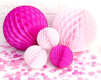 30 MIXED size tissue paper pom poms HONEYCOMB BALLS baby birthday baby boy decor it's a boy girl