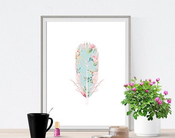 Feather Flower Pattern Hipster Colorful Art Print Poster Digital Art Print Wall Decor - Dorm Room Art - Baby Room - Wall Art for Kids Room
