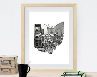 Cincinnati, Ohio State Art Print Poster of Main Street from Fountain Square during 1912