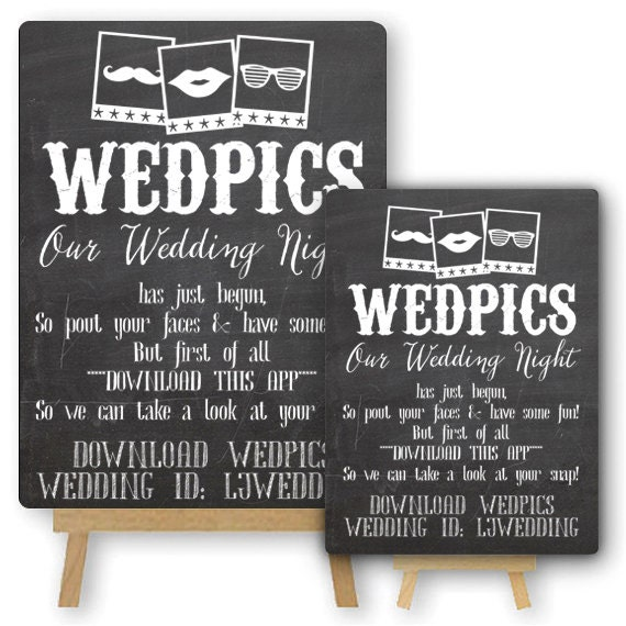 Personalised WedPics App Photo Booth Chalkboard By