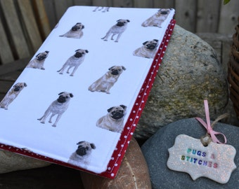 A5 Pug fabric covered notebook. Red polka dot lining